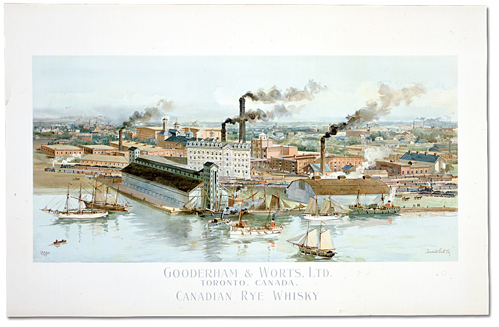 Gravure couleur : Gooderham & Worts, Ltd., Toronto, Canada: Canadian Rye Whiskey, 1890