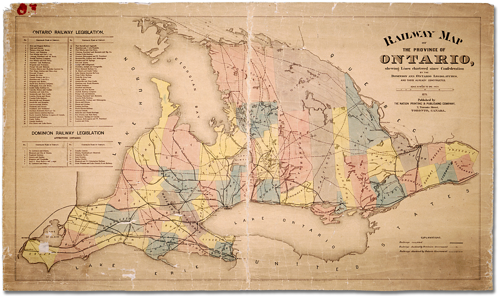 Railway map of province of Ontario showing lines chartered since ...
