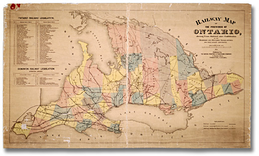 Carte : Railway Map of the Province of Ontario