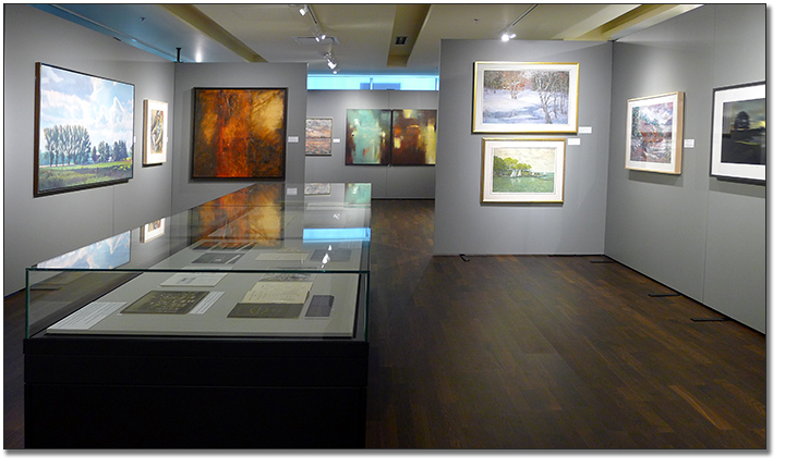 Photograph showing panels and showcases from the exhibit