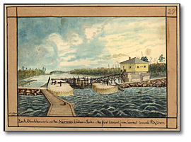 Aquarelle : Lock, Blockhouse at the Narrows, Rideau Lake - the first descent from Summit towards Bytown, 1841