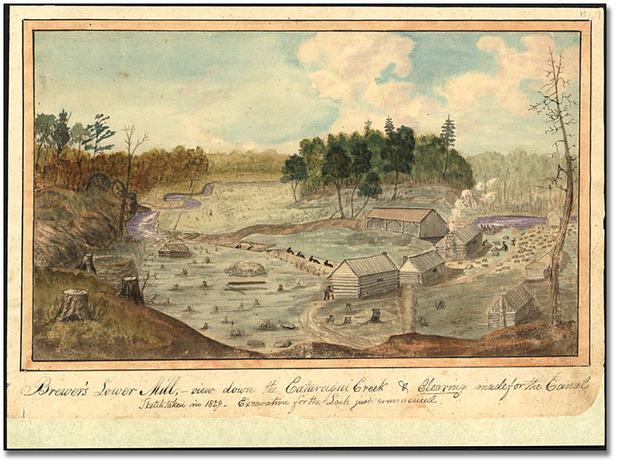 Aquarelle : Brewer's Lower Mill - view down the Cataraqui Creek and clearing made for the Canal, 1829