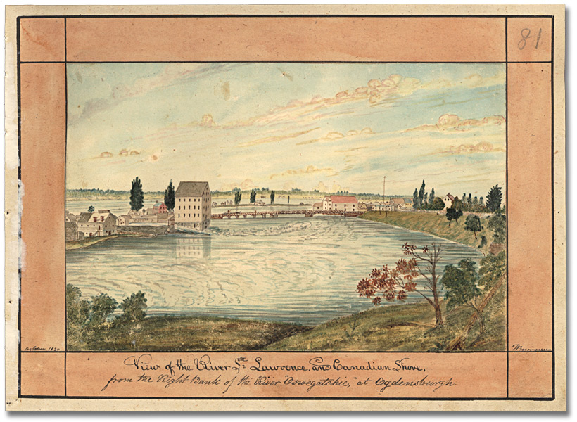 Aquarelle : View of the River Ste. Lawrence and Canadian Shore, octobre 1830