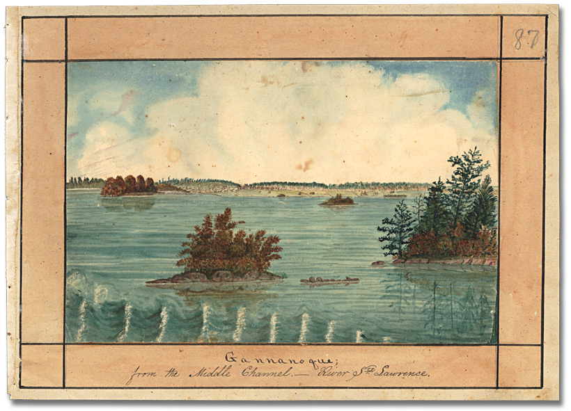 Aquarelle : Gannanoque from the middle channel – River Ste. Lawrence, 1830
