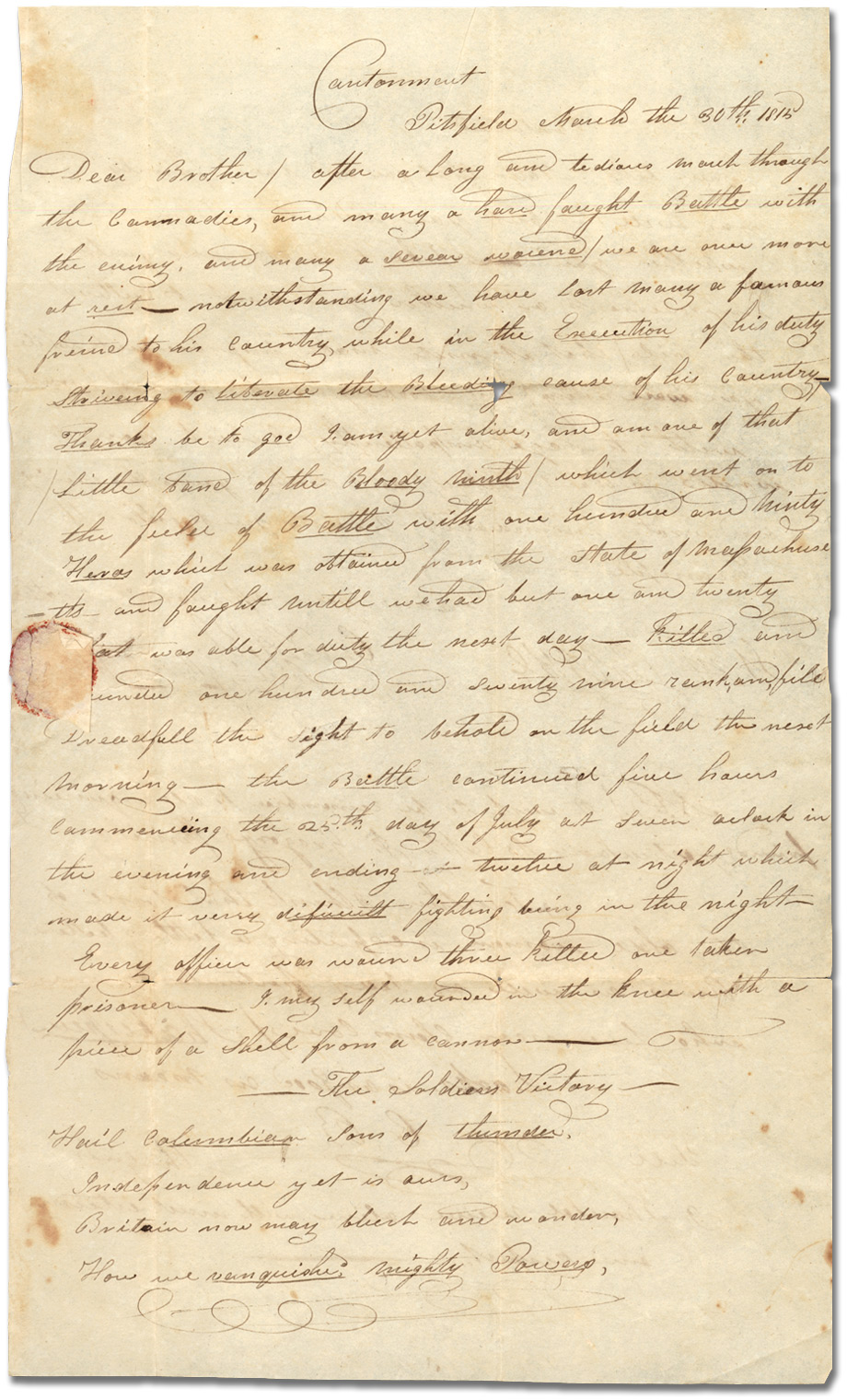 Lettre du Lt. C. Blake, 9th U.S. Infantry à son frère William Blake, 30 mars 1815, [page 1]