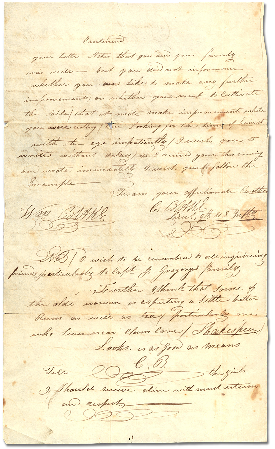 Lettre du Lt. C. Blake, 9th U.S. Infantry à son frère William Blake, 30 mars 1815, [page 2]