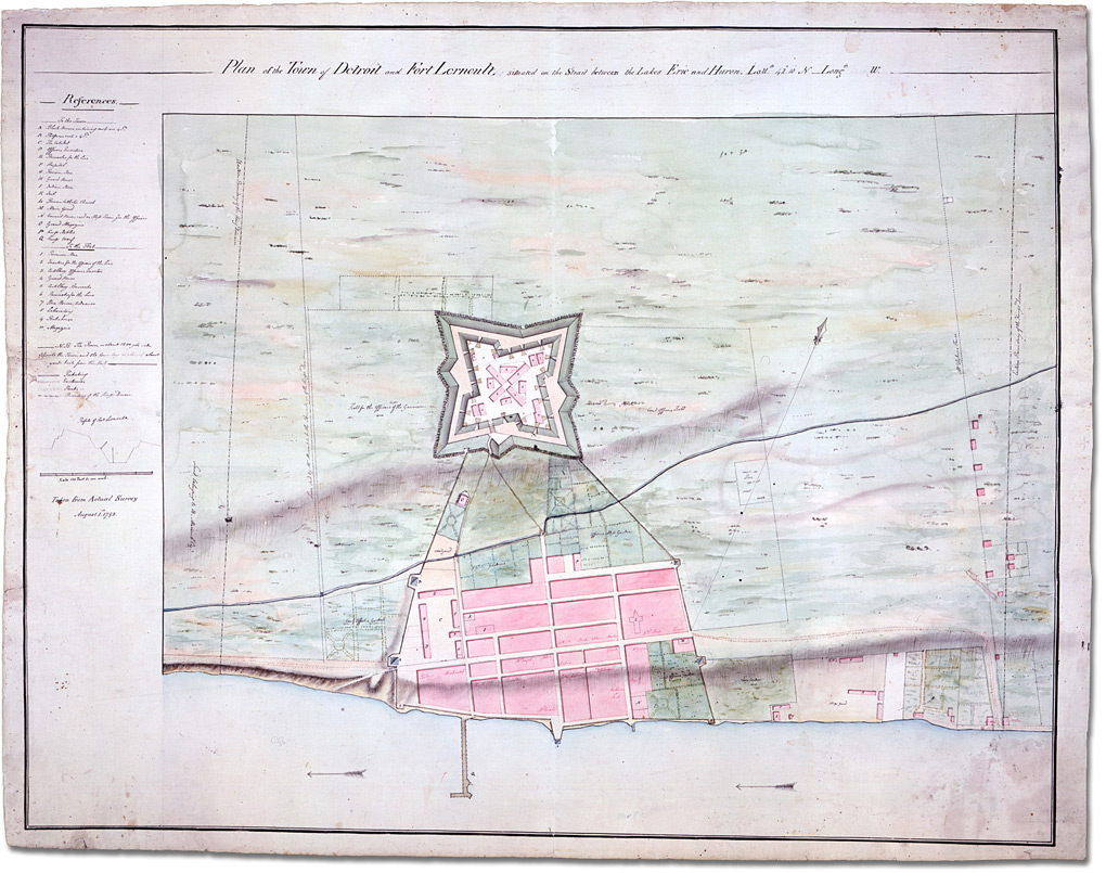Carte : Plan of the Town of Détroit and Fort Lerncult, situated on the strait between Lakes Erie and Huron, 1 août 1792