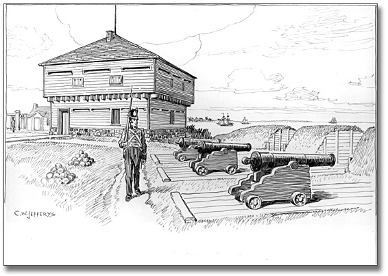 Drawing: Blockhouse and Battery in Old Fort, Toronto, 1812, [ca. 1921]