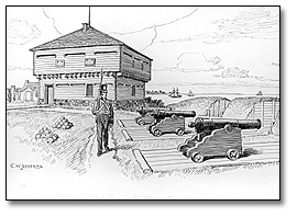 Blockhouse and Battery in Old Fort, Toronto, 1812, [vers 1921]