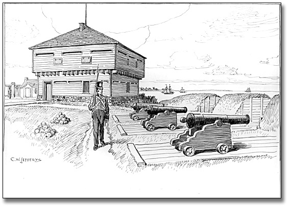 Dessin : Blockhouse and Battery in Old Fort, Toronto, 1812, [vers 1921]