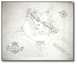 Dessin : Aerial sketch of fort Érié as imagined circ. 1814, [1937-1938]