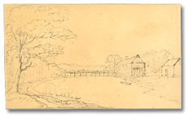 Dessin : Fort Chippiwa on the river, Welland, [vers 1795]