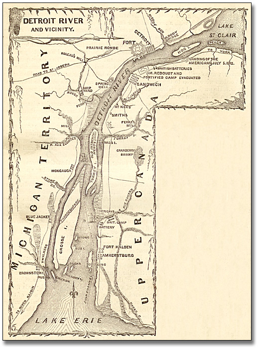 Illustration : Map of Détroit River and Vicinity, 1869