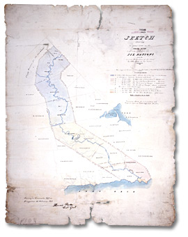 Sketch showing the Indian Lands on the Grand River originally granted to the Six Nations, and the several Surrenders of the same by them made to the Crown, 1843