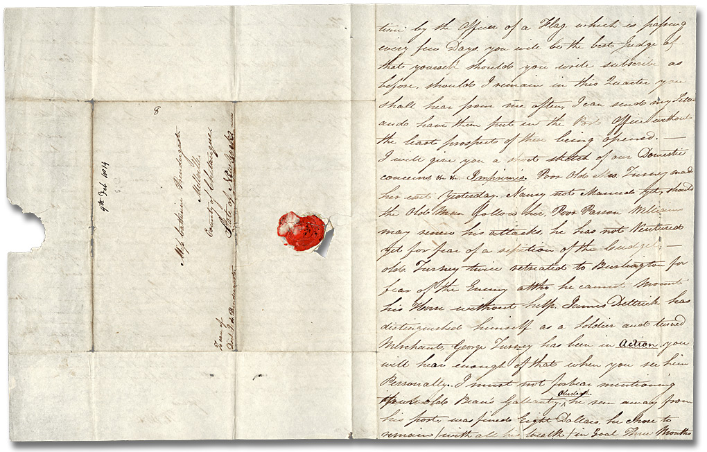 Lettre de William Merritt (12 Mile Creek) à Catherine Prendergast, 9 février 1814 ( Pages 5 et 8)