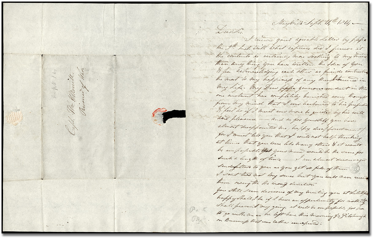 Lettre de Catherine Prendergast (Mayville) à William Merritt (Greenbush), 7 septembre 1814 (Pages 1 et 3)