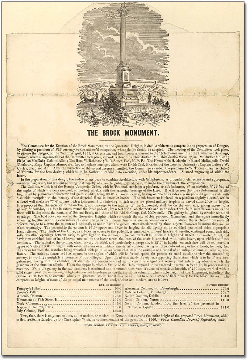 Prospectus : The Brock Monument, 1853