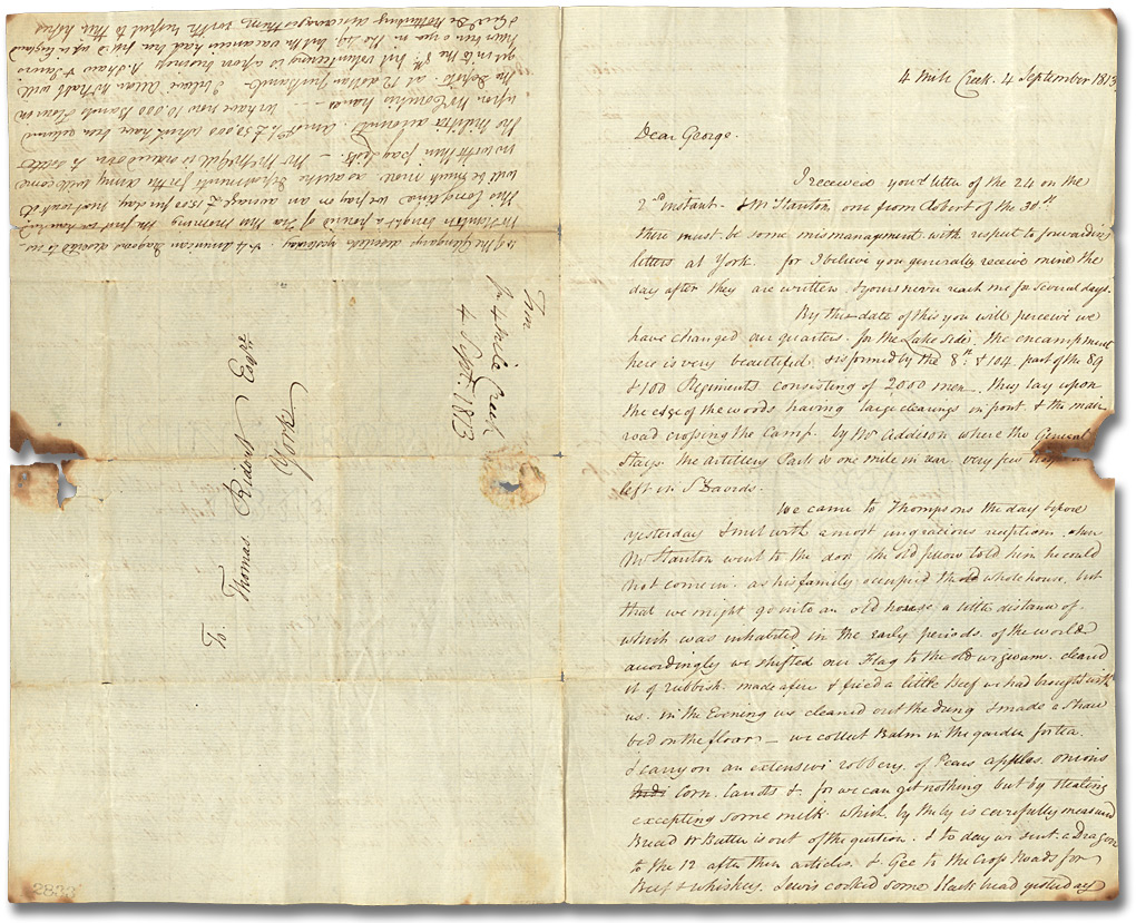 Lettre de Thomas G. Ridout (4 Mile Creek) à son frère, George Ridout, 4 septembre 1813 (Pages 1 et 4)