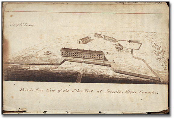 Croquis : Birds Eye View of the New Fort at Toronto, Upper Canada, [vers 1841]