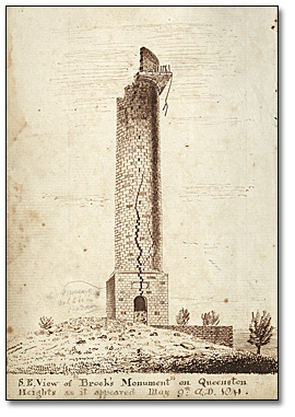 Dessin : S.E. view of Brock's Monument on Queenston Heights, [vers 1841]