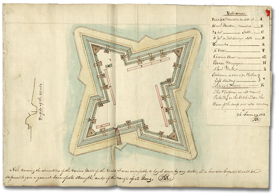 Watercolour Plan Of Fort Detroit January 26 1812