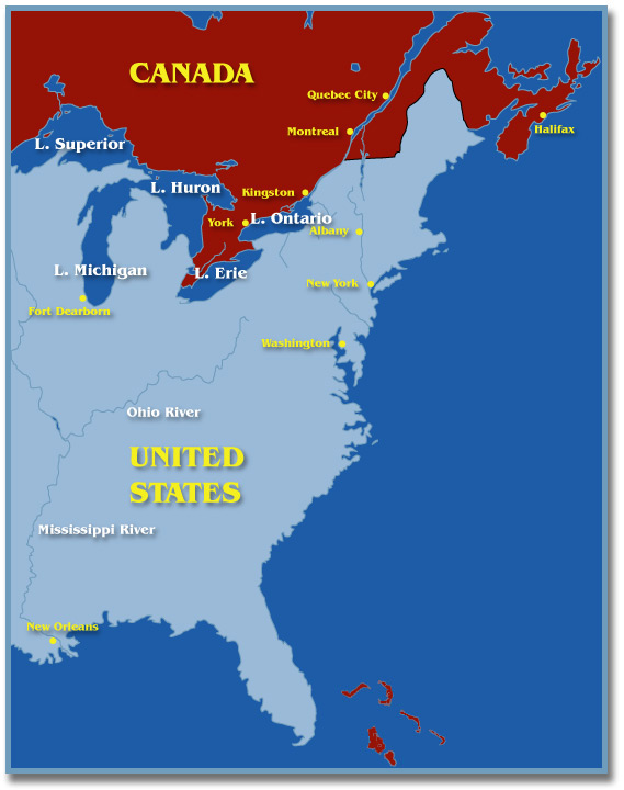 map british north america and the united states at the time of the war
