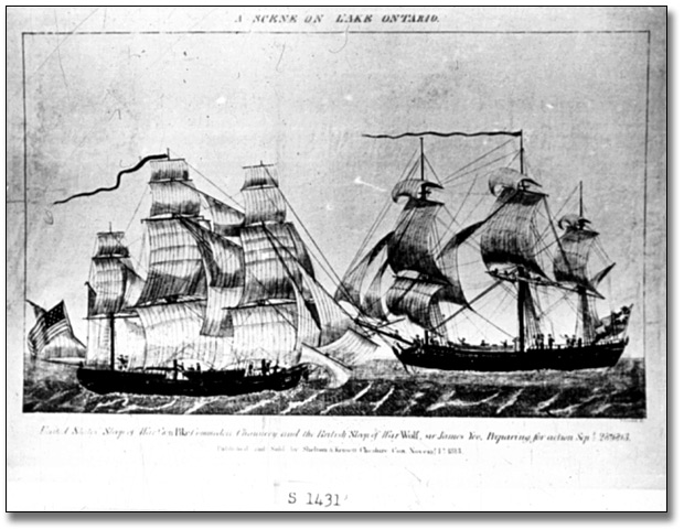 Gravure : The USS General Pike and HMS Wolf, 28 septembre 1813