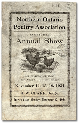 Northern Ontario Poultry Association 29th Annual Show at Agricultural Grounds Fort William - Port Arthur, 1934