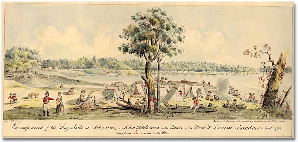 Aquarelle : Encampment of the Loyalists in Johnstown, a new settlement on the banks of the River St. Lawrence in Canada West, 1925