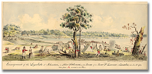 Aquarelle : Encampment of the Loyalists in Johnstown a new settlement on the banks of the River St. Lawrence in Canada West, 1925
