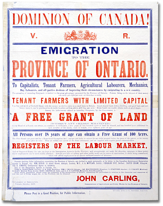 Poster: Emigration to the Province of Ontario, 1869