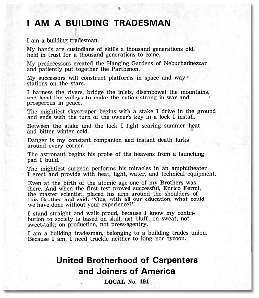"""I am a Building Tradesman"" produit par le local 494, [vers 1955]"
