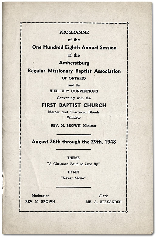 Programme de la cent-huitième session annuelle de l'Amherstburg Regular Missionary Baptist Association of Ontario