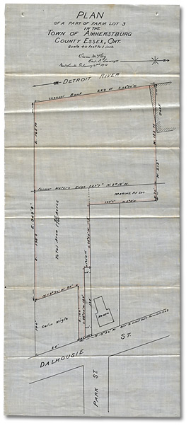 Plan of a Part of Farm Lot 3 in the Town of Amherstburg, County of Essex, 1911