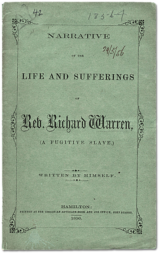 Cover: Narrative of the Life and Sufferings of Rev. Richard Warren, 1856