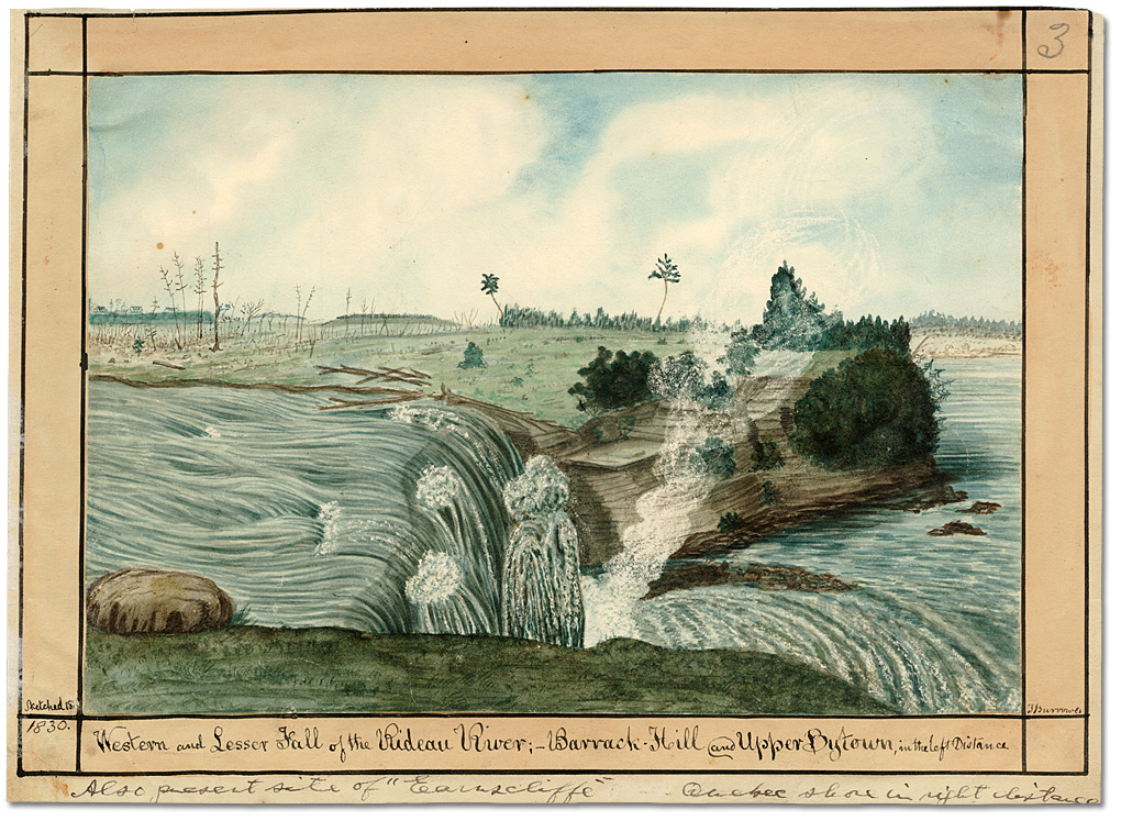 Aquarelle : Western and Lesser Fall of the Rideau River; Barrack Hill and Upper Bytown in the left Distance, 1826