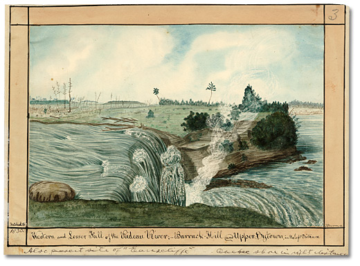 Aquarelle: Western and Lesser Fall of the Rideau River; Barrack Hill and Upper Bytown in the left Distance, 1826