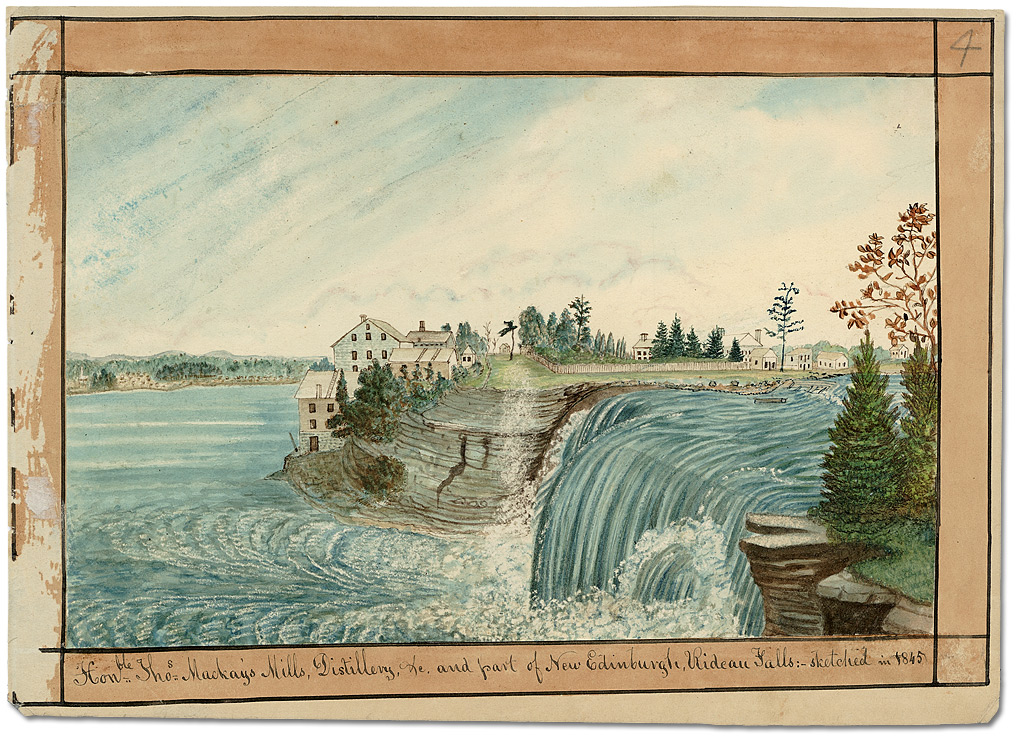 Aquarelle : Hon.ble Tho.s McKay's Mills, Distillery, etc. and part of New Edinburgh, Rideau Falls, 1845