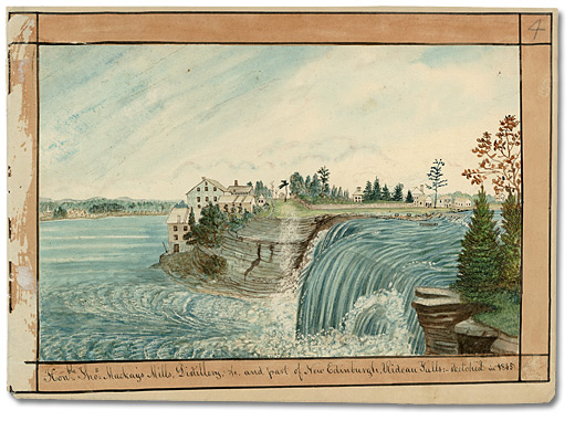 Aquarelle: Hon.ble Tho.s McKay's Mills, Distillery, etc. and part of New Edinburgh, Rideau Falls, 1845