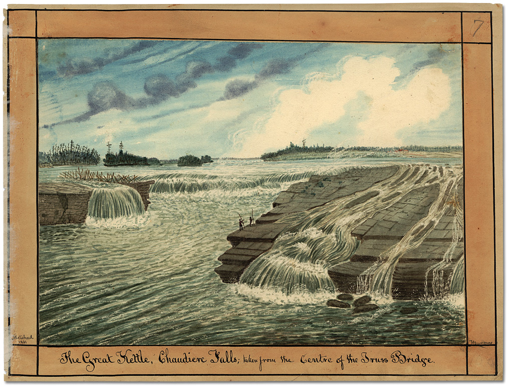Aquarelle : The Great Kettle, Chaudiere Falls; taken from the Centre of the Truss Bridge, 1831