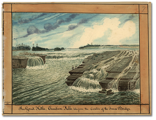 Aquarelle: The Great Kettle, Chaudiere Falls; taken from the Centre of the Truss Bridge, 1831
