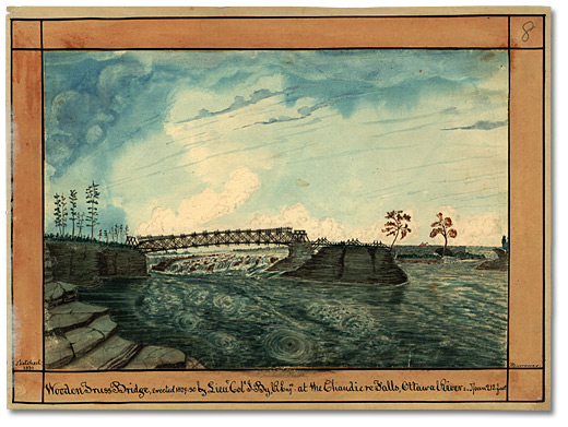 Aquarelle: Wooden Truss Bridge, erected 1829-39 by Lieut. Col. J. By, R. Eng. Rs at the Chaudiere Falls, Ottawa River: Span 212 feet, 1831