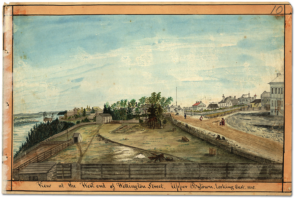 Aquarelle : View at the West end of Wellington Street, Upper Bytown, looking East, 1845