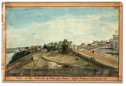 Aquarelle: View at the West end of Wellington Street, Upper Bytown, looking East, 1845