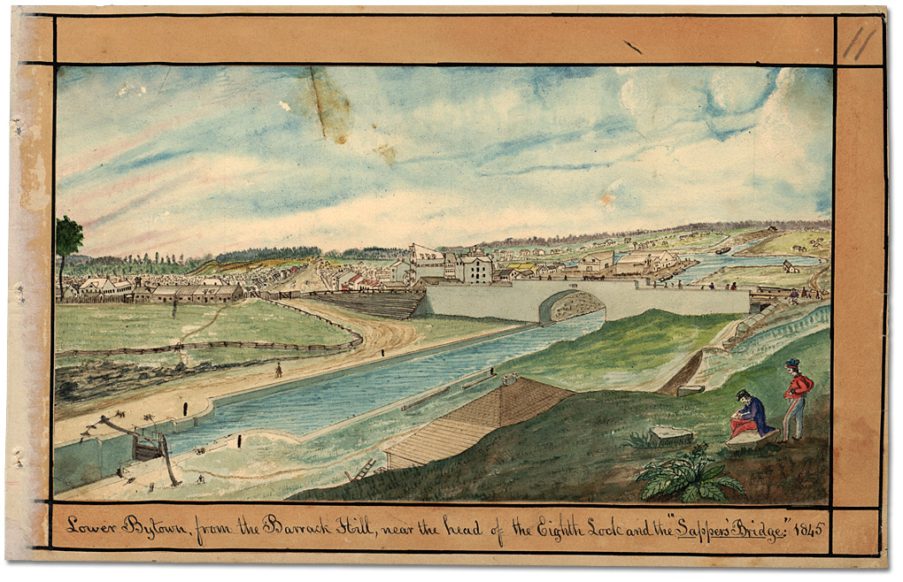 "Aquarelle : Lower Bytown, from the Barrack Hill, near the head of the Eighth Lock and the ""Sappers' Bridge,"" 1845"