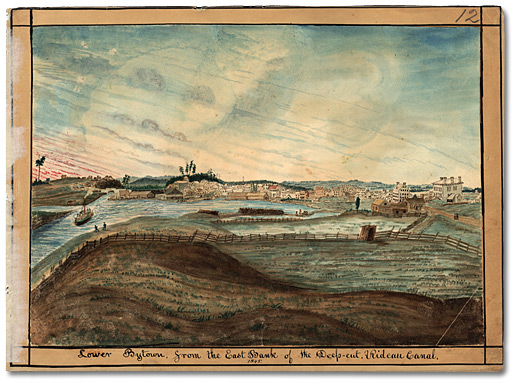 Aquarelle: Lower Bytown, from the East Bank of the Deep-cut, Rideau Canal, 1845