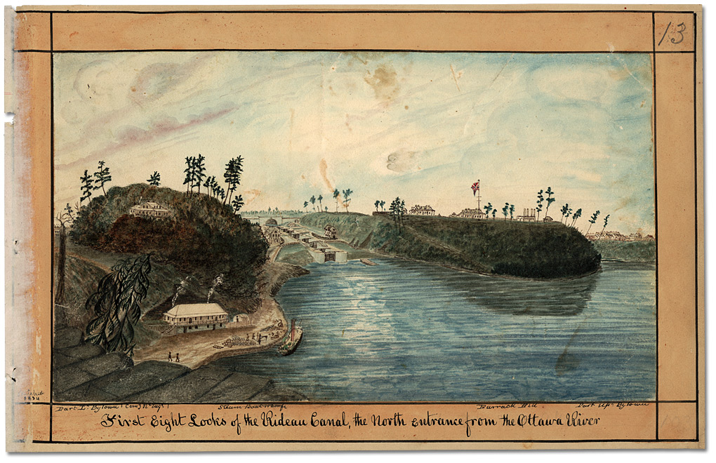 Aquarelle : First Eight Locks of the Rideau Canal, the North entrance from the Ottawa River, 1834
