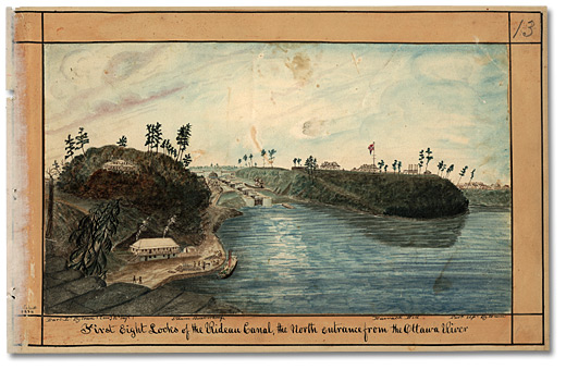 Aquarelle: First Eight Locks of the Rideau Canal, the North entrance from the Ottawa River, 1834