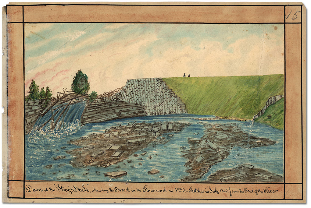 Aquarelle : Dam at the Hog's Back, shewing the Breach in the Stonework in 1830; Sketched in July 1845 from the Bed of the River, 1845