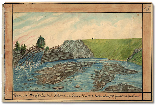 Aquarelle: Dam at the Hog's Back, shewing the Breach in the Stonework in 1830; Sketched in July 1845 from the Bed of the River, 1845